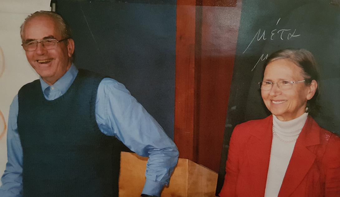 Georg und Michaela Gloeckler beim IPMT am Goetheanum, wo sie seinen Kurs vom Deutschen ins Englische übersetzt hat, da das IPMT Teilnehmer aus dem Ausland, insbesondere aus Polen und Serbien durchgeführt wurde.